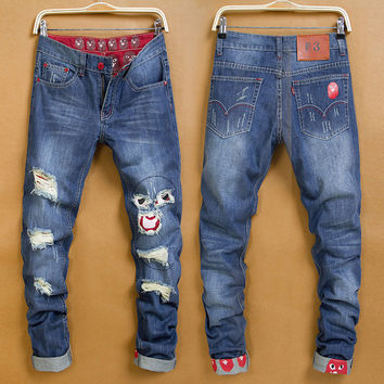 Men's Fashion Ripped Holes Jeans Straight Jeans [6541771715]