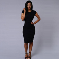 Women Short Sleeve O-neck Solid Package Hip Dess For Women Sexy Bodycon Mid -Calf Dress X0350