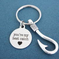 You're my best catch, Heart, Fish, Hook, Keychain, Love, Keyring, Birthday, BFF, Friendship, Gift, Key ring, Key chain, Jewelry, Accessory