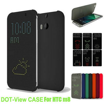 Auto Sleep Wake Smart Flip Cover TPU Case with Dot View Case For HTC M8