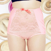 CORALLY - coral lace and lycra panties - Made to order/ Ready to Ship