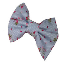 Small girls grey bow with strawberries and polka dots from Sassy Shuga Boutique