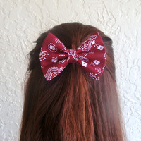 Bandanna Hair Bow Burgundy Bandana Hair Clip Rockabilly Pin up Teen Woman Alligator Clip, French Barrette