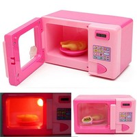 DCCKL72 Children Kid Mini Cute Pink Microwave Oven Pretend Role Play Toy Educational For Children Role Playing Kitchen Toys