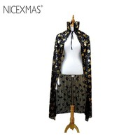 NICEXMAS 1.2M Hot Adults Pumpkin Witch Wizard Golden Silver Cloak Halloween Carnival Party Cosplay Costume Accessories