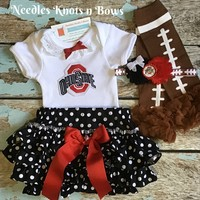 Girls Ohio State Buckeyes Outfit, Baby Girls Ohio State Fotball Outfit, Buckeyes Game Day Outfit, Baby Shower Gift