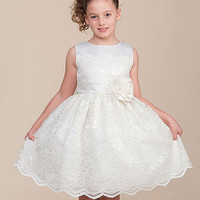 Pretty Ivory Lace Flower Girl Dress With Satin Bodice