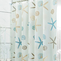 New Shell Starfish Bathroom Waterproof Mildew Proof Shower Curtain With 12pcs Curtain Hooks Rings 180cm*180/200cm Free Shipping