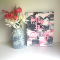 Rule the world fashionable acrylic canvas painting for trendy girls room or home decor