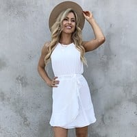 Pretty In White Belted Dress