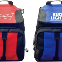 Budweiser/Bud Light 28 Can Backpack Coolers - Assorted Solid Prints - 4 Units