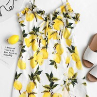Mini Lemon Print Cami Dress
