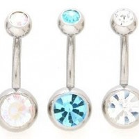 Lot of 5 New Double Jeweled Gemmed Belly Navel Body Jewelry Piercing Bar Ring Rings 14g:Amazon:Jewelry