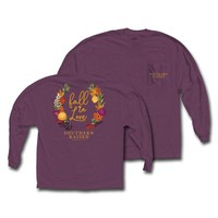 "Southern Raised ""Fall in Love"" Tee on Comfort Colors Long Sleeve"