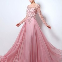 [149.99] In Stock Chic Tulle Bateau Neckline Floor-length A-line Evening Dresses With Beadings - dressilyme.com
