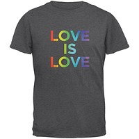 LGBT Gay Pride Love Is Love Dark Heather Adult T-Shirt