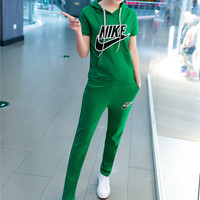 """""""NIKE"""" Fashion Casual Embroidery Stitching Letter Short Sleeve Hooded Set Two-Piece Sportswear"""