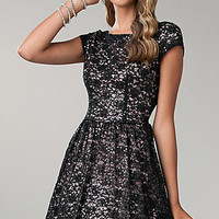 Short Black Lace Dress with Cap Sleeves by Bee Darlin