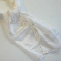 Vintage Pure White Silk Scarf Specialty House Japan