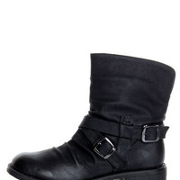 Black Slouchy Belted Ankle Boots