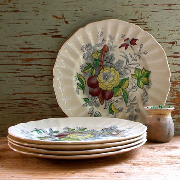 Vintage Royal Doulton Lunch Plates, Set of Five, Kirkwood Pattern, 1950s Cottage Decor