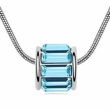 14K White Gold Plated Aqua IOBI Crystals Baguette Necklace For Woman