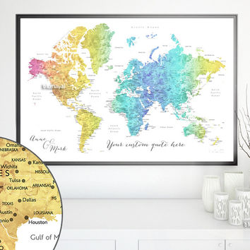 Custom quote world map print - colorful gradient watercolor world map with cities. Color combination: Maxwell