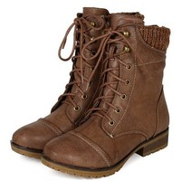 Refresh BI33 Women Leatherette Sweater Trim Lace Up Mid Calf Combat Boot - Taupe (Size: 9.0)