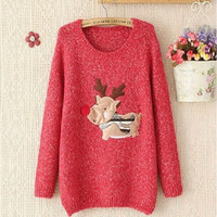 New year Christmas Sweater Women O-Neck Long Sleeve Deer Print Cute Thick Knit Pullover Womens Jumpers Pull Femme