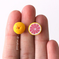 Fruit Grapefruit Earrings - Miniature Food Jewelry - Healthy Collection