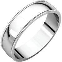 Palladium 3mm Light Milgrain Wedding Band Ring - Bridal Jewelry: RingSize: 00
