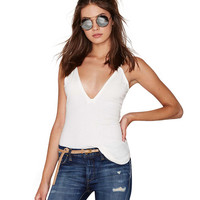 White Plunging Cami Top
