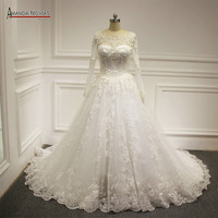 Noivas Wedding Dress Heavy Beading Full Pearls Arabic Muslim Wedding Dresses 2016