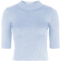 Ribbed Funnel Neck Top - Pale Blue