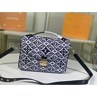 Louis Vuitton LV Fashion Women Monogram Check Leather Shopping Shoulder Bag Handbag 25*19*7cm