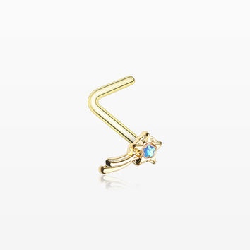 Golden Opalescent Wishing Star L-Shaped Nose Ring