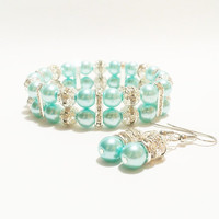Pearl Bracelet and Earrings / Turquoise Bridal Jewelry / Bridal Earrings / Blue Bridesmaid Jewelry / Pearl Earrings / Bridesmaid Jewelry