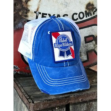 Pabst Blue Ribbon Beer distressed Hat- Royal/White Velcro back