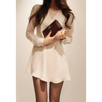 White Long Sleeve Lace Mini Summer Dress