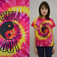 Tie Dye Shirt Yin Yang Chill Out Hippie Small Good Vibes Handmade Tie Dye Womens Clothing Fuchsia Yellow Red Spiral Tie Dye Groovy