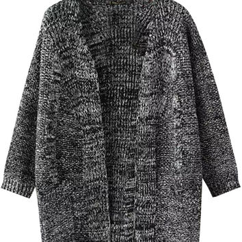 Deep Grey Open Front Cardigan Sweater