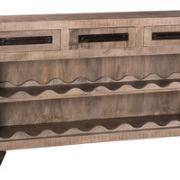 5806-898B Bridgewater Console Table with Removable Wine Rack - Brushed Tan - Free Shipping!