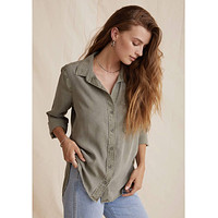 Classic Button Down Roll Up Sleeve Army