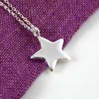 Sterling silver star necklace, Big star charm necklace, silver star necklace, sterling silver charm necklace, elegant necklace long necklace