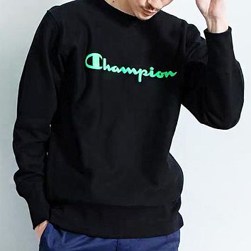 Champion New fashion letter print couple long sleeve top sweater Black