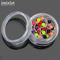Imixlot 10Pcs Ball Head Horseshoe Nose Ring Septum Stainless Steel Labret Eyebrow Stud Body Piercing Jewelry with Plastic Box