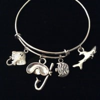 Snorkeling Expandable Silver Charm Bracelet Adjustable Bangle Sting Ray Shark Fish Ocean Nautical Gift