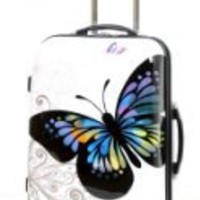 Lightweight Hardshell Travel Luggage Suitcase- 4 Wheel Spinner Trolley Bag -HOL171 Butterfly Print