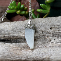Moonstone Necklace - Crescent Moon Necklace - Raw Stone Jewelry - Rough Moonstone Jewelry - Boho Jewelry - Gypsy Necklace - Crushed Pyrite