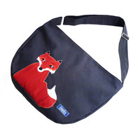Bike crossbody bag bike messenger bag cycling bag applicated fox animal 1.1 BASIC COLLECTION